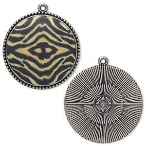 focal, antiqued silver-finished pewter (zinc-based alloy) and polymer clay, black/cream/tan, 38mm single-sided round with tiger print design. sold per pkg of 2.