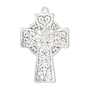 focal, antiqued sterling silver, 33x24mm celtic cross. sold individually.