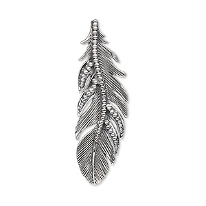 focal, antiqued sterling silver, 35x11mm left- and right-facing single-sided beaded textured feather. sold per pair.