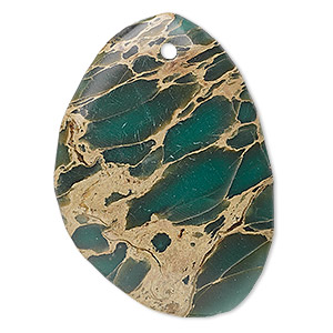 focal, aqua terra jasper (natural), 40x30mm teardrop, b grade, mohs hardness is 3-1/2 to 4. sold individually.