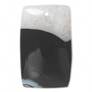 focal, black agate and quartz (dyed), 40x25mm rectangle, c grade, mohs hardness 6-1/2 to 7. sold individually.