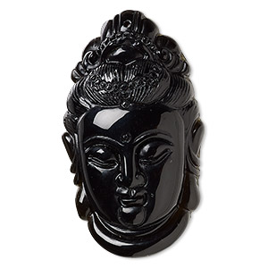 focal, black obsidian (natural), 47x27mm single-sided quan yin, b grade, mohs hardness 5 to 5-1/2. sold individually.