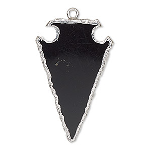 focal, black onyx (dyed) / electroplated silver / silver-plated sterling silver, 36x22mm hand-cut arrowhead. sold individually.