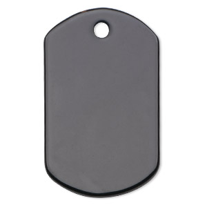focal, black onyx (dyed), 42x25mm dog tag, b grade, mohs hardness 6-1/2 to 7. sold individually.