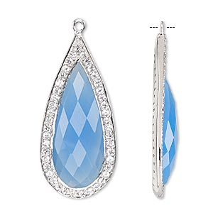 focal, blue chalcedony (dyed) / white topaz (natural) / sterling silver, 35x16mm single-sided faceted teardrop. sold individually.