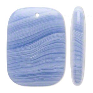 focal, blue lace agate (imitation), blue and white, 40x30mm top-drilled rounded flat rectangle. sold individually.