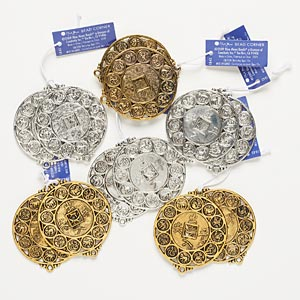 focal, blue moon beads, antiqued silver- and gold-finished pewter (zinc-based alloy), 45mm assorted round. sold per pkg of (6) 2-piece sets.