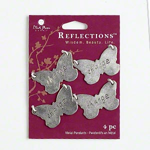 focal, blue moon beads, antiqued silver-finished pewter (zinc-based alloy), 35x21mm double-sided butterfly with change and paisley design. sold per pkg of 4 focals.