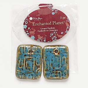focal, blue moon beads, porcelain, honey and dark aqua, 34x25mm rectangle. pkg/2.