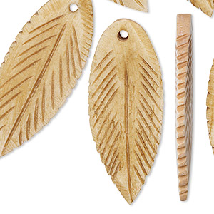 focal, bone (dyed), antiqued, 39x18mm carved leaf, mohs hardness 2-1/2. sold per pkg of 6.