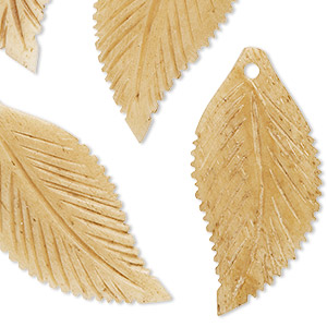 focal, bone (dyed), tan, 37x18mm hand-carved double-sided flat leaf, mohs hardness 2-1/2. sold per pkg of 4.