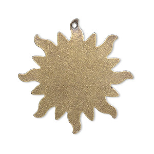 focal, brass, 33mm double-sided flat round sun blank with 1.2mm hole. sold per pkg of 4.