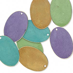 focal, brass, assorted bright patina, assorted pantone colors, 30x20mm double-sided oval. sold per pkg of 8.
