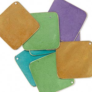focal, brass, assorted bright patina, assorted pantone colors, 40x40mm double-sided diamond. sold per pkg of 8.
