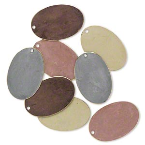 focal, brass, assorted earth-tone patina, assorted pantone colors, 30x20mm double-sided oval. sold per pkg of 8.