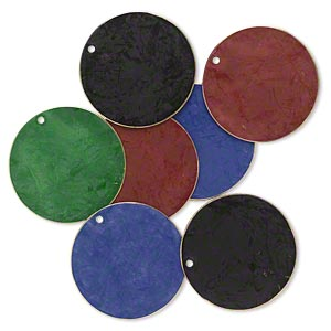 focal, brass, assorted jewel tone patina, assorted pantone colors, 30mm double-sided flat round. sold per pkg of 8.