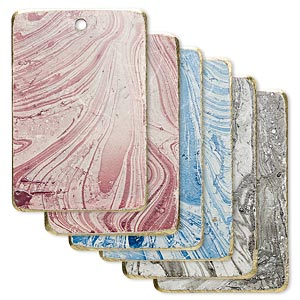 focal, brass, assorted marbled patina, 30x20mm double-sided rectangle. sold per pkg of 6.
