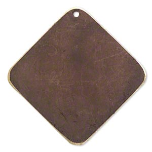 focal, brass, earth tone brown patina, pantone color 19-1321, 40x40mm double-sided diamond. sold per pkg of 6.