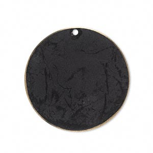 focal, brass, jewel tone black patina, pantone color 19-0508, 30mm double-sided flat round. sold per pkg of 6.