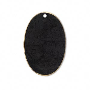 focal, brass, jewel tone black patina, pantone color 19-0508, 30x20mm double-sided oval. sold per pkg of 6.