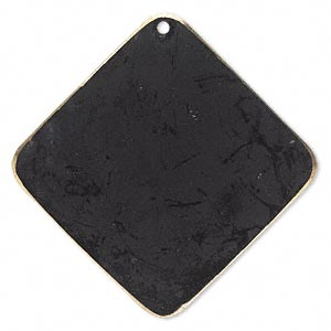 focal, brass, jewel tone black patina, pantone color 19-0508, 40x40mm double-sided diamond. sold per pkg of 6.