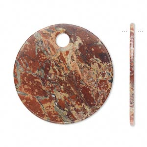 focal, brecciated jasper (natural), 30mm flat round with 4mm hole, b grade, mohs hardness 6-1/2 to 7. sold per pkg of 2.