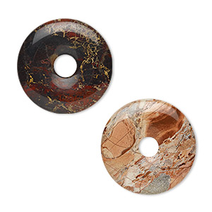 focal, brecciated jasper (natural), 40mm round donut, b grade, mohs hardness 6-1/2 to 7. sold per pkg of 2.