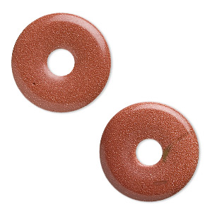 focal, brown goldstone (man-made), 30mm round donut. sold per pkg of 2.
