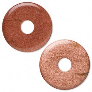 focal, brown goldstone (man-made), 40mm round donut. sold per pkg of 2.