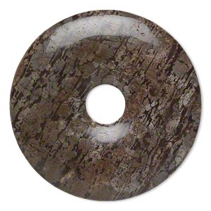 focal, brown snowflake jasper (natural), 40mm hand-cut round donut, b grade, mohs hardness 6-1/2 to 7. sold individually.
