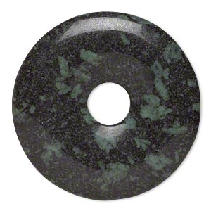 focal, camo stone™ (natural), 40mm hand-cut round donut, b grade, mohs hardness 6-1/2 to 7. sold individually.