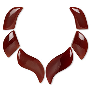 focal, carnelian (dyed / heated), 23x11mm-34x14mm fan, b grade, mohs hardness 6-1/2 to 7. sold per 6-piece set.