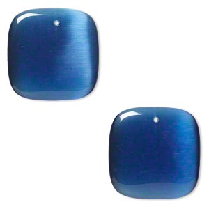focal, cats eye glass, blue, 34x34mm top-drilled square. sold per pkg of 2.