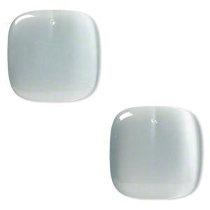focal, cats eye glass, silver, 34x34mm top-drilled square. sold per pkg of 2.