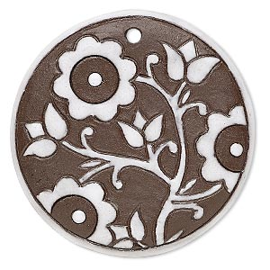 focal, ceramic, brown and white, 45mm single-sided round with flower design, 2.5mm hole. sold individually.