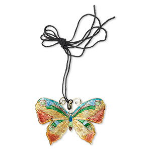 focal, cloisonne and copper, gold / green / blue, 55x40mm butterfly on black adjustable cord. sold individually.
