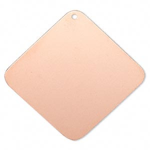 focal, copper-plated brass, 40x40mm double-sided diamond. sold per pkg of 6.