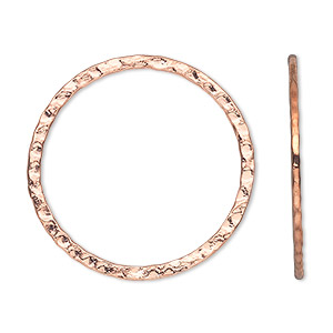 focal, copper-plated steel, 30mm double-sided hammered open round. sold per pkg of 10.