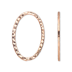 focal, copper-plated steel, 30x20mm double-sided hammered open oval. sold per pkg of 8.