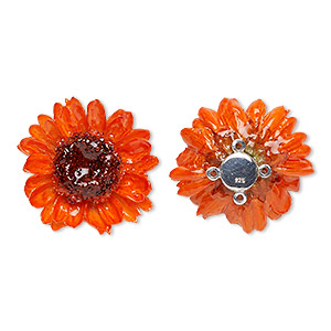 focal, daisy / polyresin / sterling silver, orange, 30-35mm. sold individually.