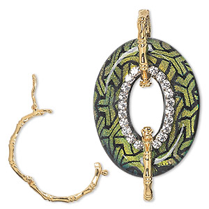 focal, dichroic glass / czech rhinestone / gold-finished brass, black / green / yellow / clear, 40x30mm single-sided oval donut with y design and twister clasps. sold individually.