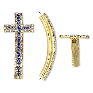focal, egyptian glass rhinestone and gold-finished pewter (zinc-based alloy), clear ab and sapphire blue, 54x24mm single-sided curved cross, 3mm hole. sold individually.