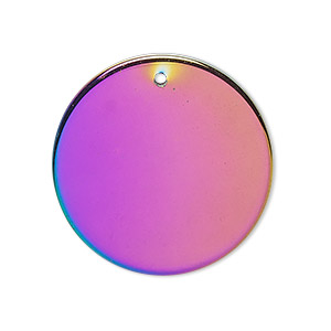 focal, electroplated hemalyke™ (man-made), rainbow, 30mm flat round. sold individually.