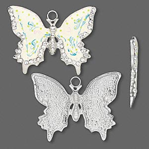 focal, enamel / czech glass rhinestone / silver-finished brass, multicolored, 55x44mm butterfly. sold individually.