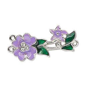 focal, enamel / swarovski crystals / silver-plated pewter (zinc-based alloy), purple / green / crystal clear, 33x14mm single-sided y-connector with flower and leaves. sold individually.