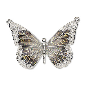 focal, enamel and imitation rhodium-plated pewter (zinc-based alloy), black and clear with glitter, 35x25mm single-sided butterfly. sold individually.