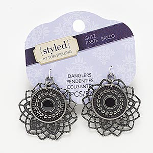focal, enamel with antiqued nickel-finished steel and pewter (zinc-based alloy), black, 39x39mm flower. sold per pkg of 2.