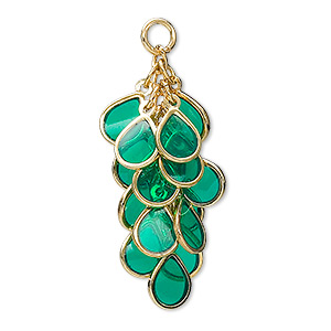focal, epoxy and gold-plated brass, dark green, 32x16mm teardrop cluster. sold per pkg of 4.