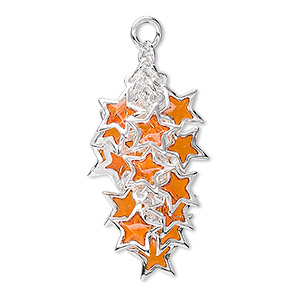 focal, epoxy and silver-plated brass, orange, 32x16mm star cluster. sold per pkg of 4.