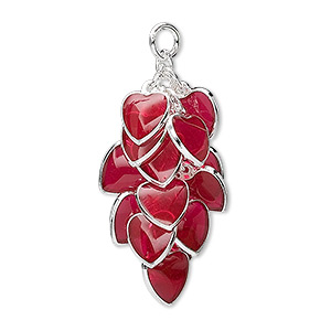 focal, epoxy and silver-plated brass, red, 32x16mm heart cluster. sold per pkg of 4.